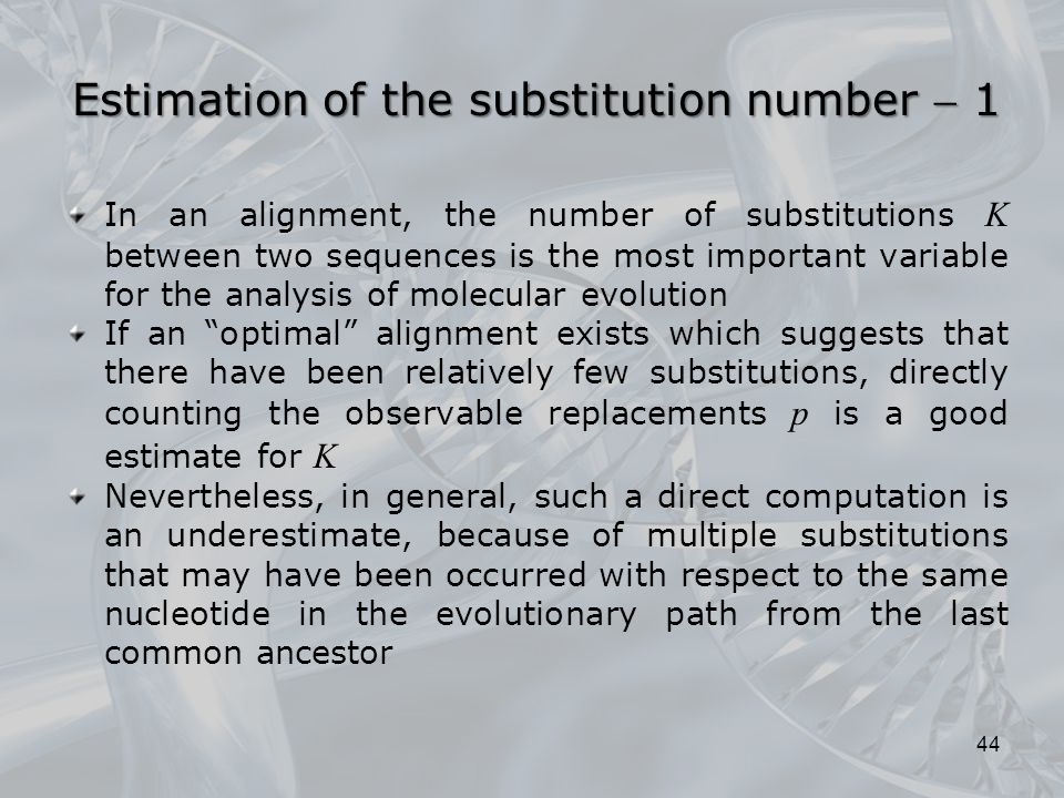 Estimation of the substitution number  1