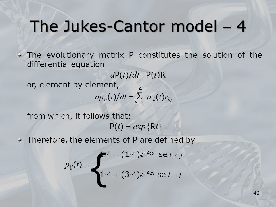 The Jukes-Cantor model  4