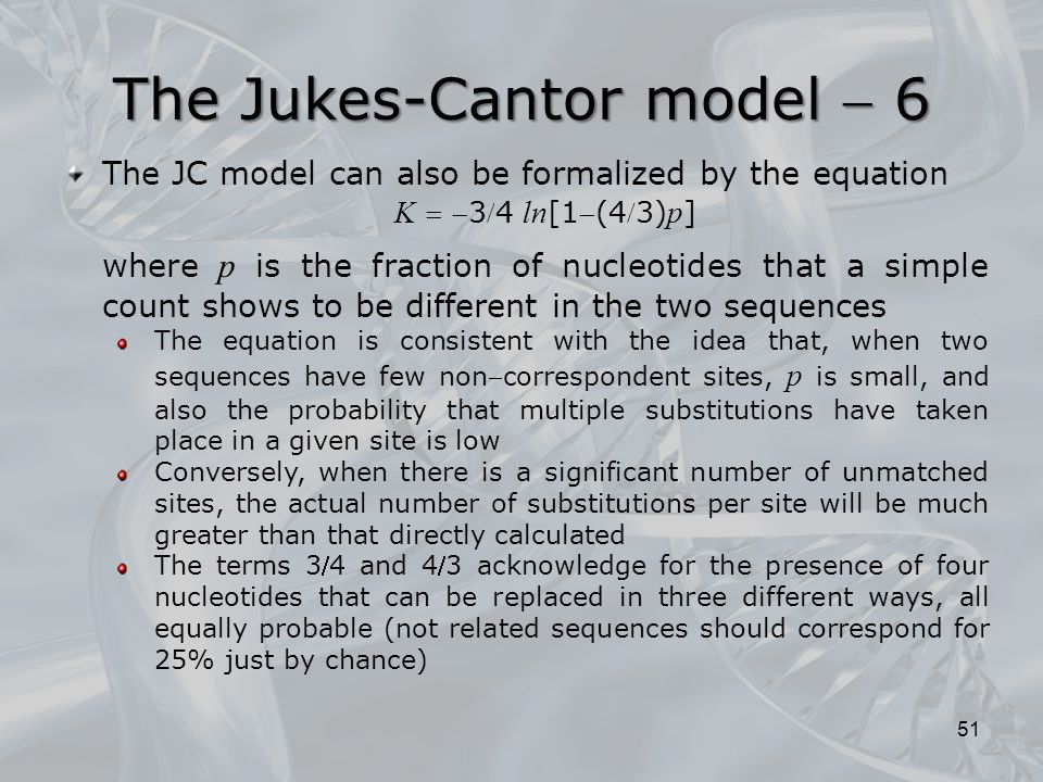 The Jukes-Cantor model  6