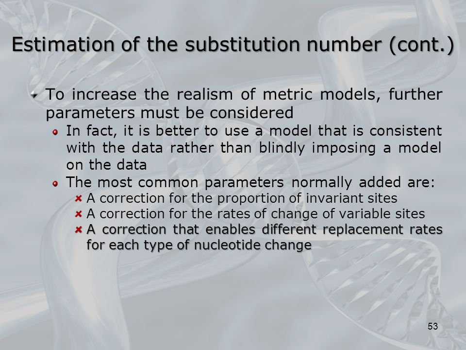Estimation of the substitution number (cont.)