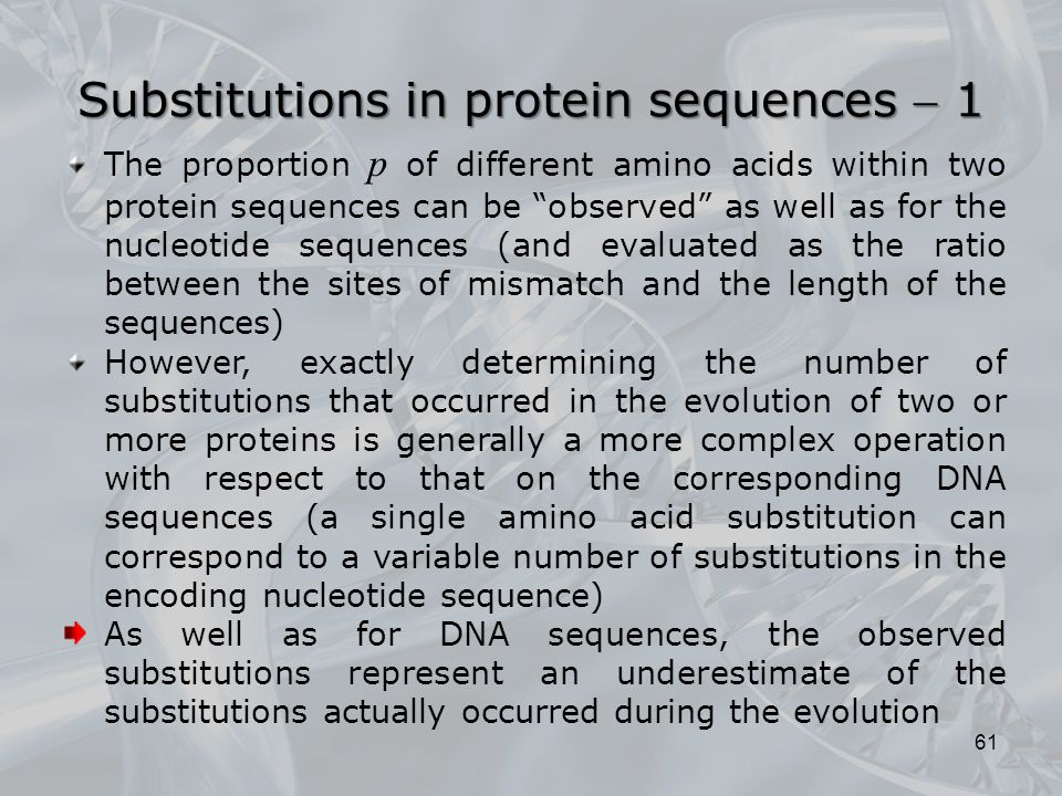 Substitutions in protein sequences  1