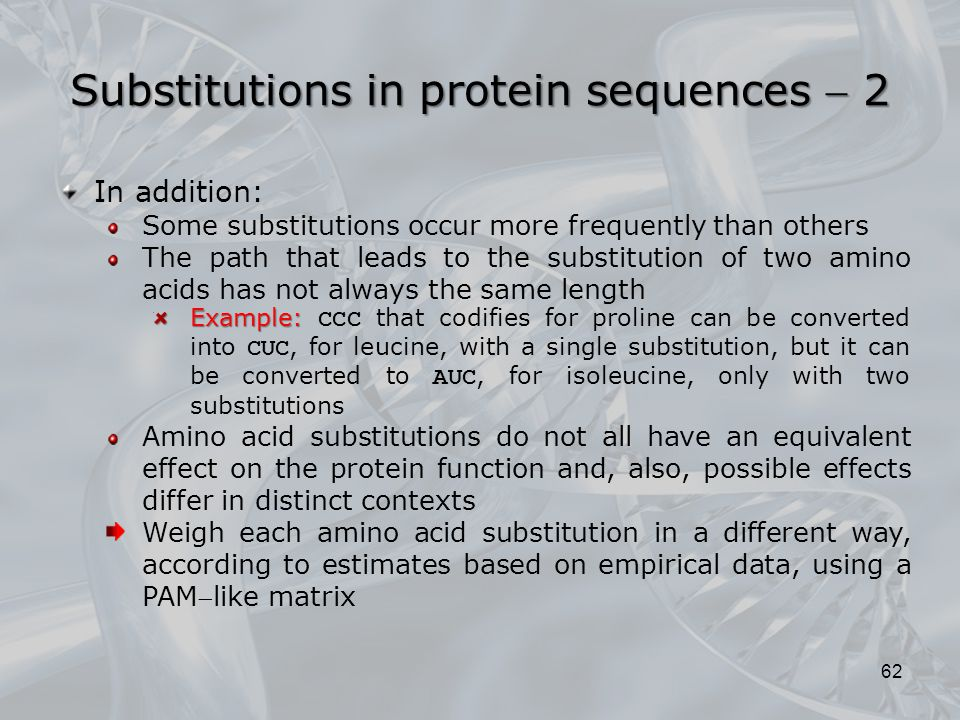 Substitutions in protein sequences  2