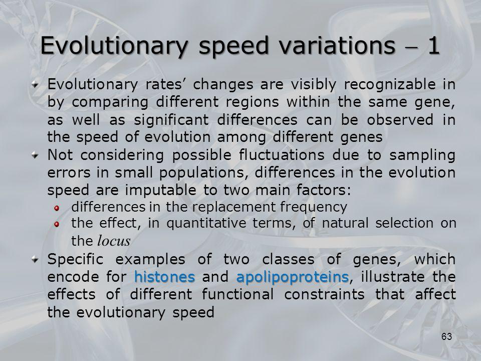 Evolutionary speed variations  1