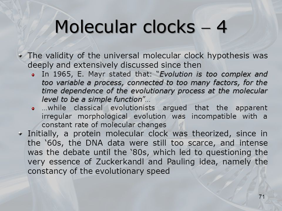 Molecular clocks  4 The validity of the universal molecular clock hypothesis was deeply and extensively discussed since then.