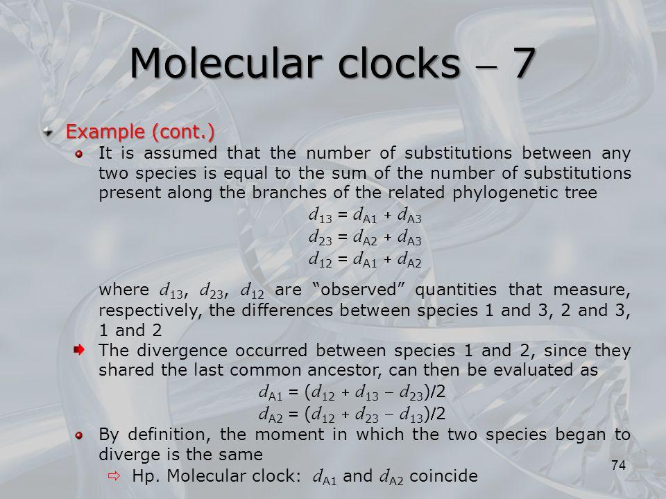Molecular clocks  7 Example (cont.) d13  dA1  dA3 d12  dA1  dA2