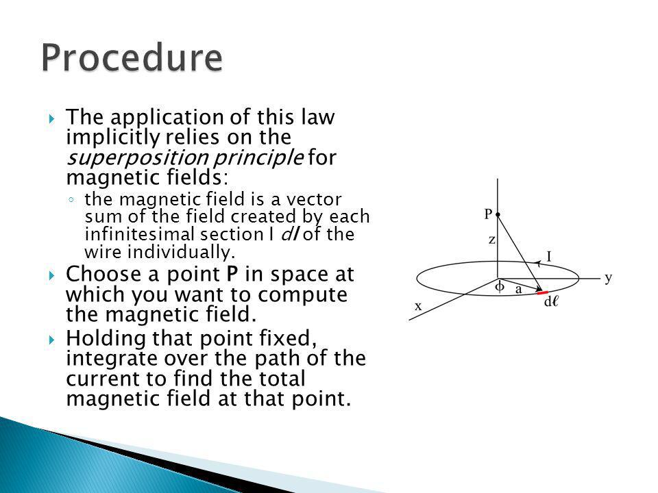Procedure The application of this law implicitly relies on the superposition principle for magnetic fields: