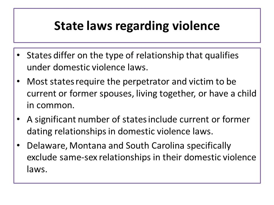 State laws regarding violence