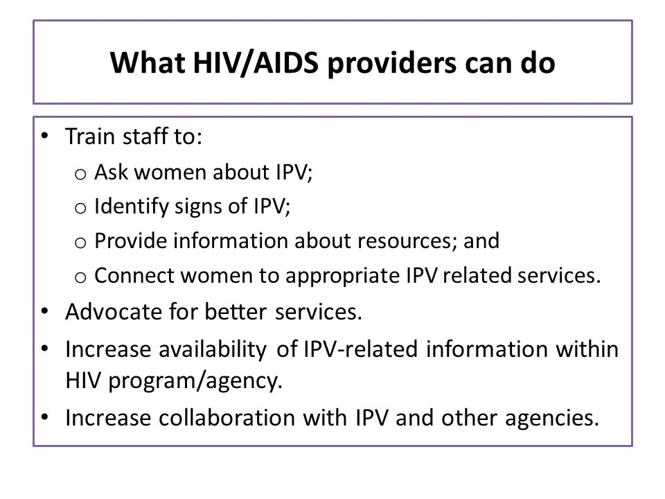 What HIV/AIDS providers can do