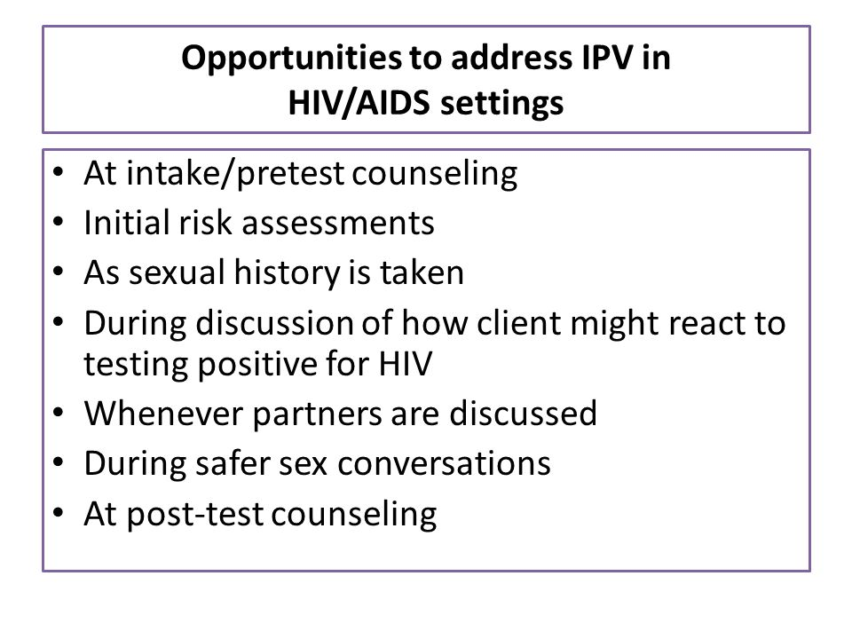 Opportunities to address IPV in HIV/AIDS settings
