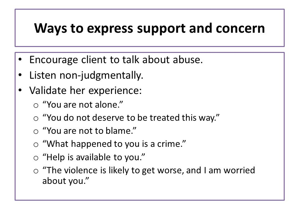 Ways to express support and concern
