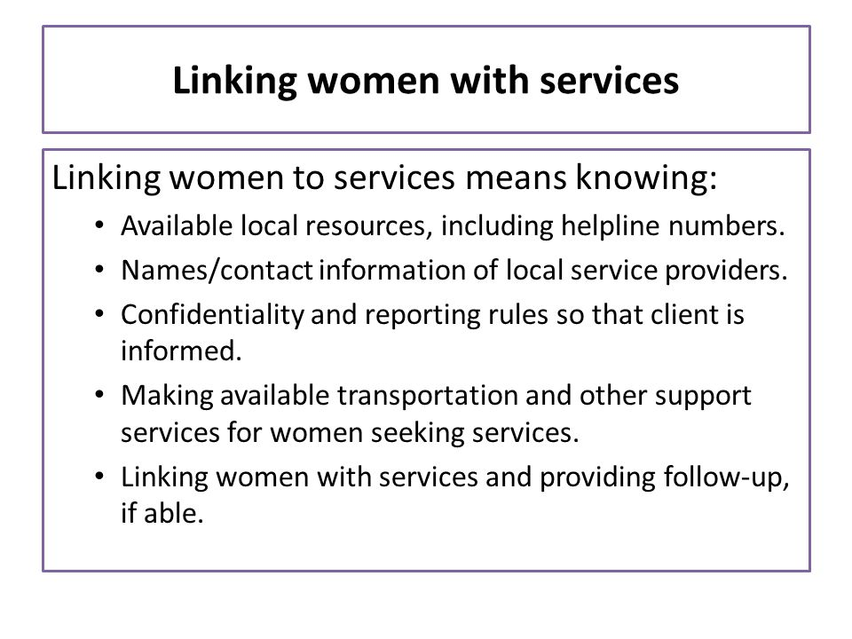 Linking women with services