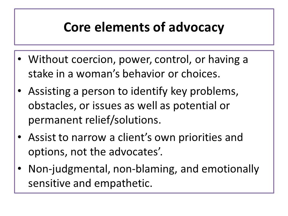 Core elements of advocacy