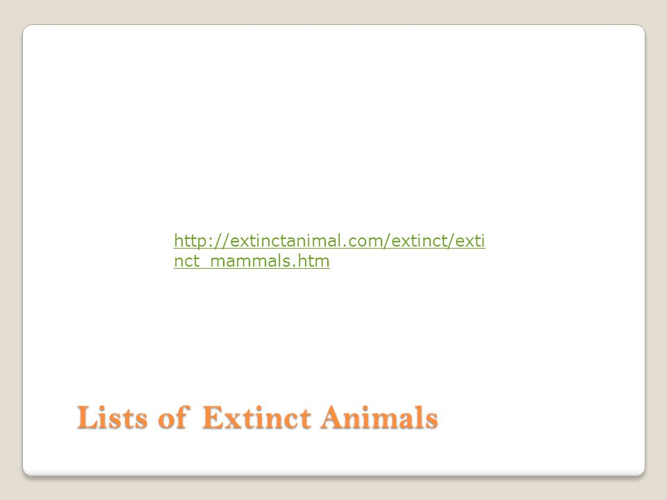 Lists of Extinct Animals