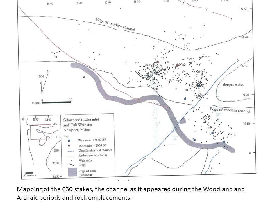 Mapping of the 630 stakes, the channel as it appeared during the Woodland and Archaic periods and rock emplacements.