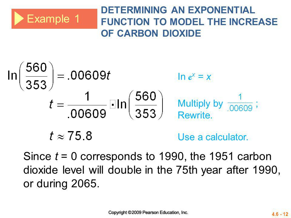 DETERMINING AN EXPONENTIAL FUNCTION TO MODEL THE INCREASE OF CARBON DIOXIDE