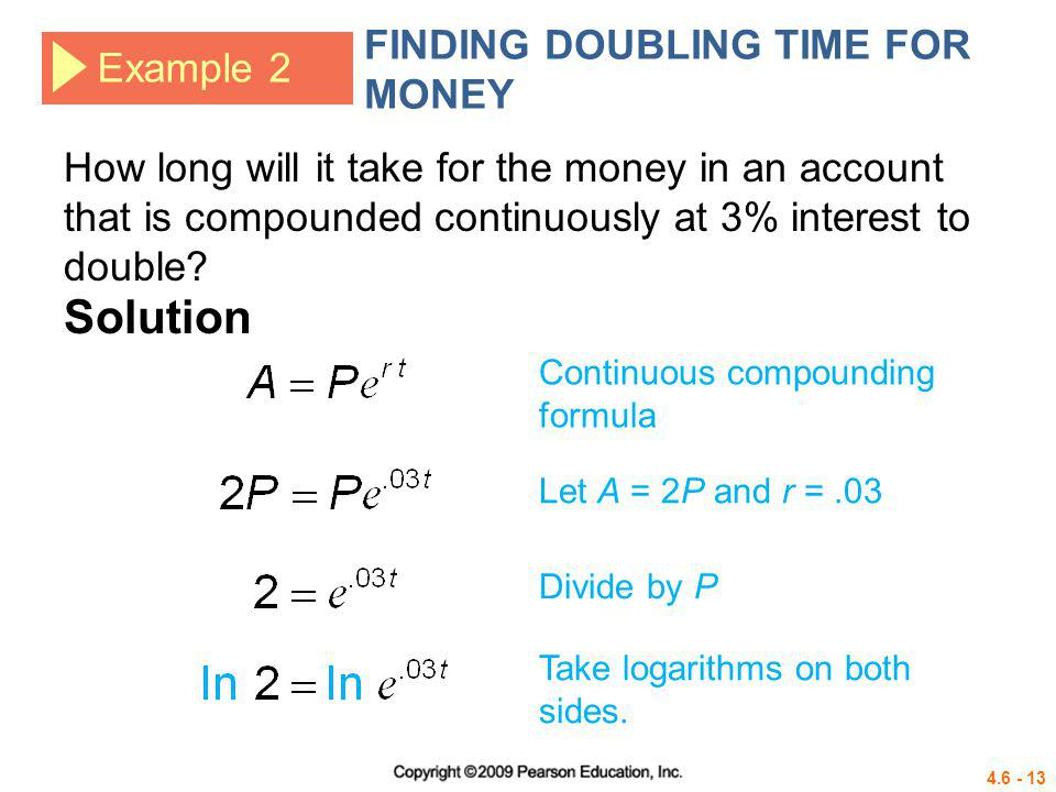 Solution FINDING DOUBLING TIME FOR MONEY Example 2