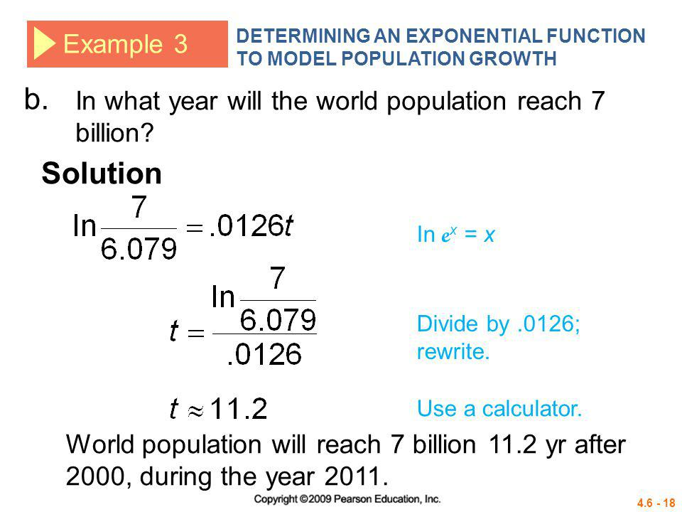 DETERMINING AN EXPONENTIAL FUNCTION TO MODEL POPULATION GROWTH