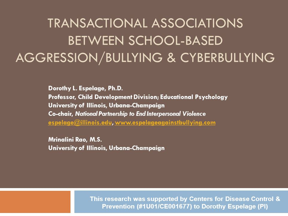 Transactional Associations Between School-Based Aggression/Bullying & Cyberbullying
