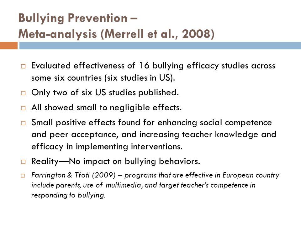 Bullying Prevention – Meta-analysis (Merrell et al., 2008)