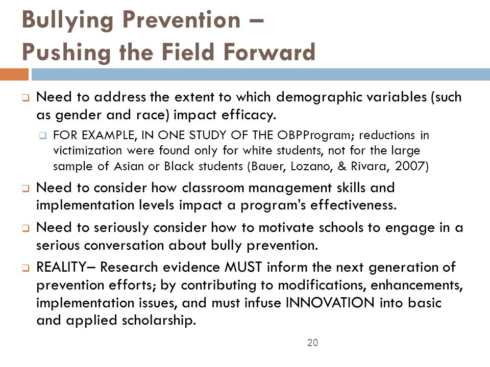 Bullying Prevention – Pushing the Field Forward