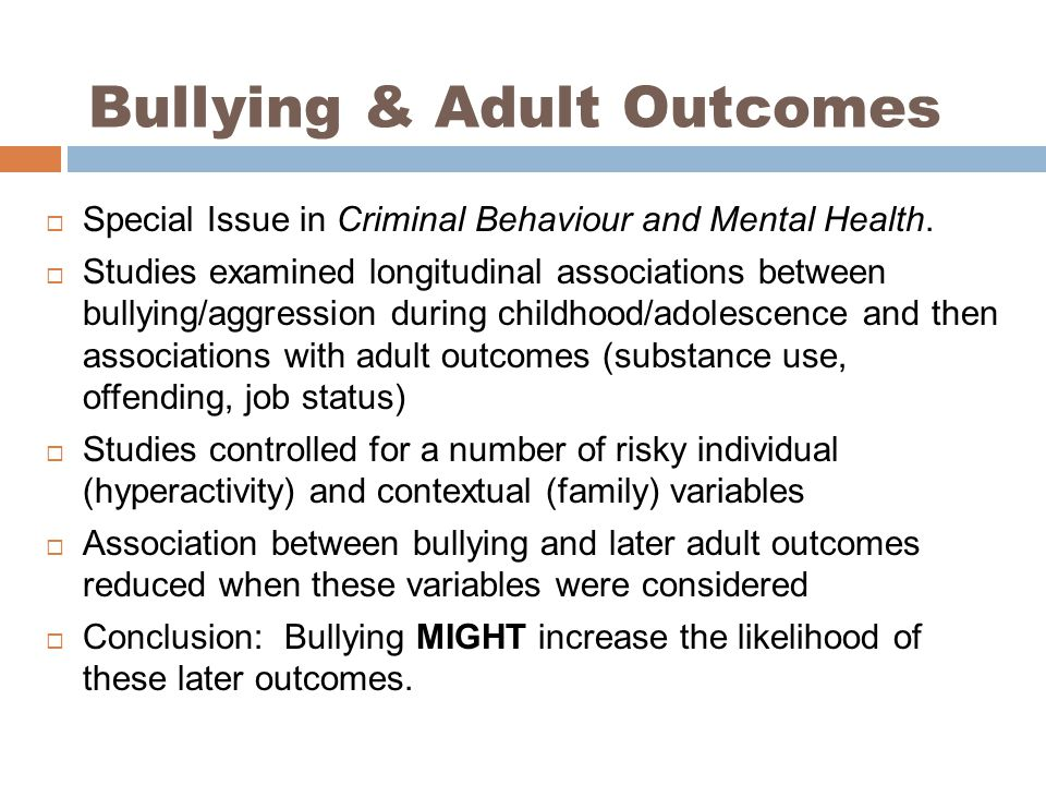 Bullying & Adult Outcomes