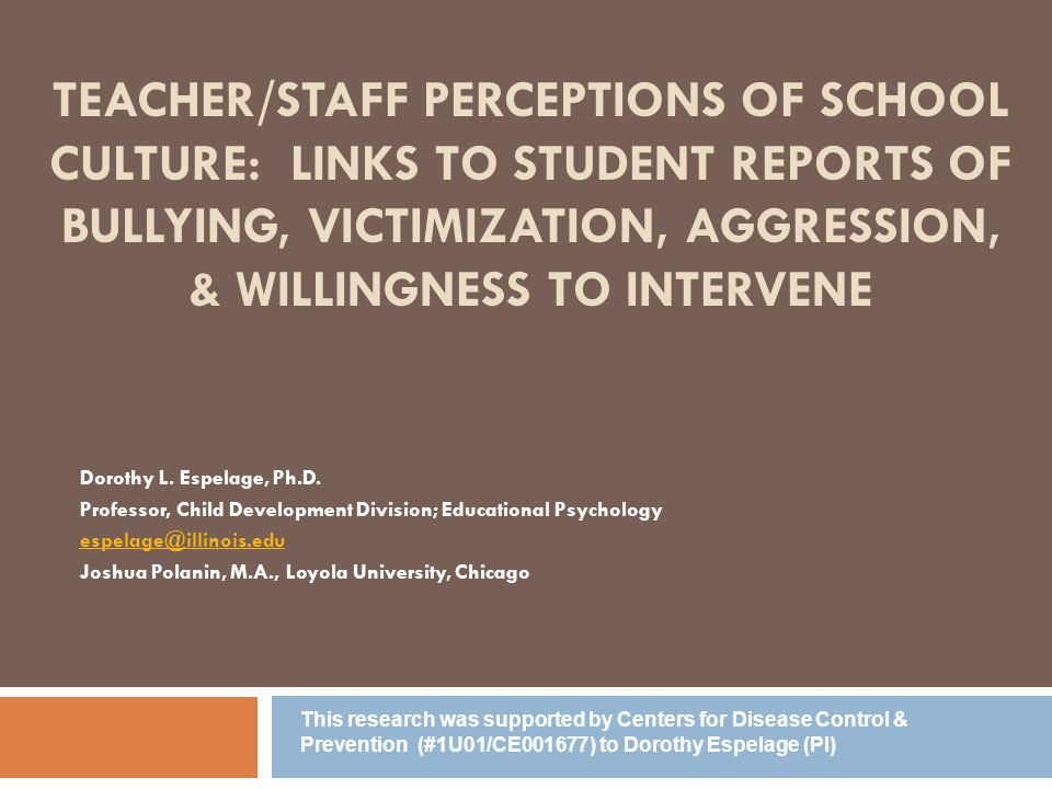 Teacher/Staff perceptions of school culture: Links to student reports of bullying, victimization, aggression, & willingness to intervene