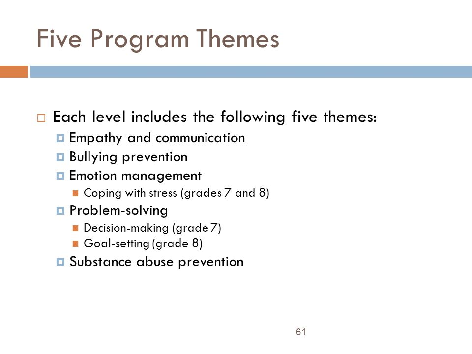 Five Program Themes Each level includes the following five themes: