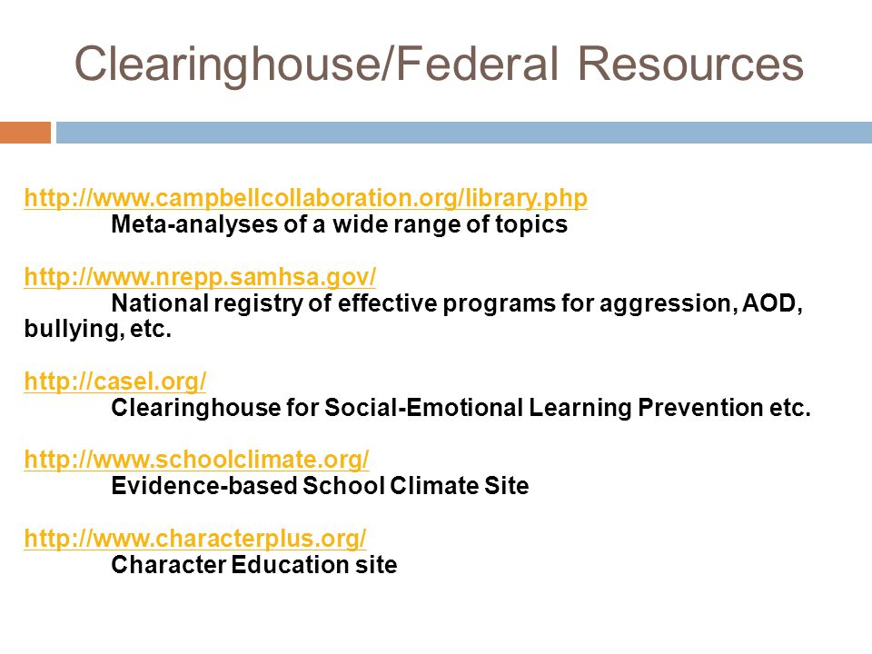 Clearinghouse/Federal Resources