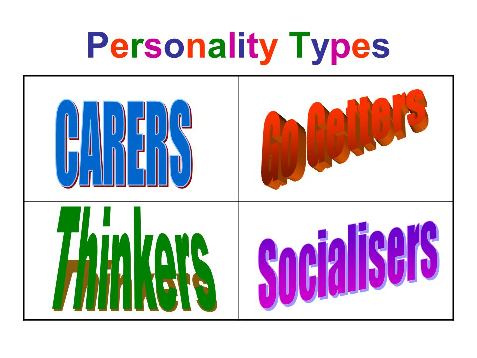 Personality Types Go Getters CARERS Thinkers Socialisers