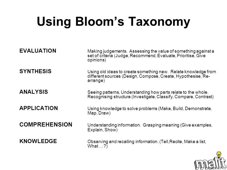 Using Bloom's Taxonomy
