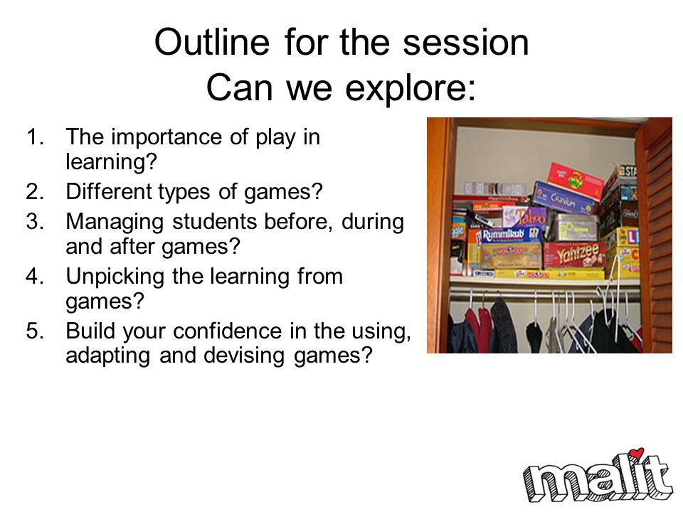 Outline for the session Can we explore: