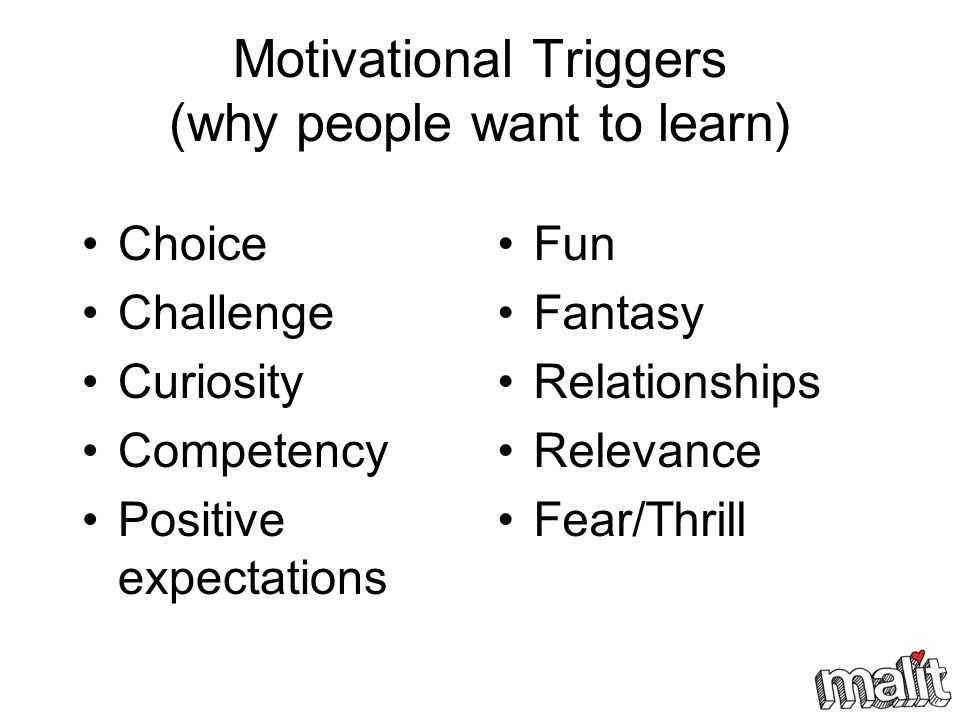 Motivational Triggers (why people want to learn)