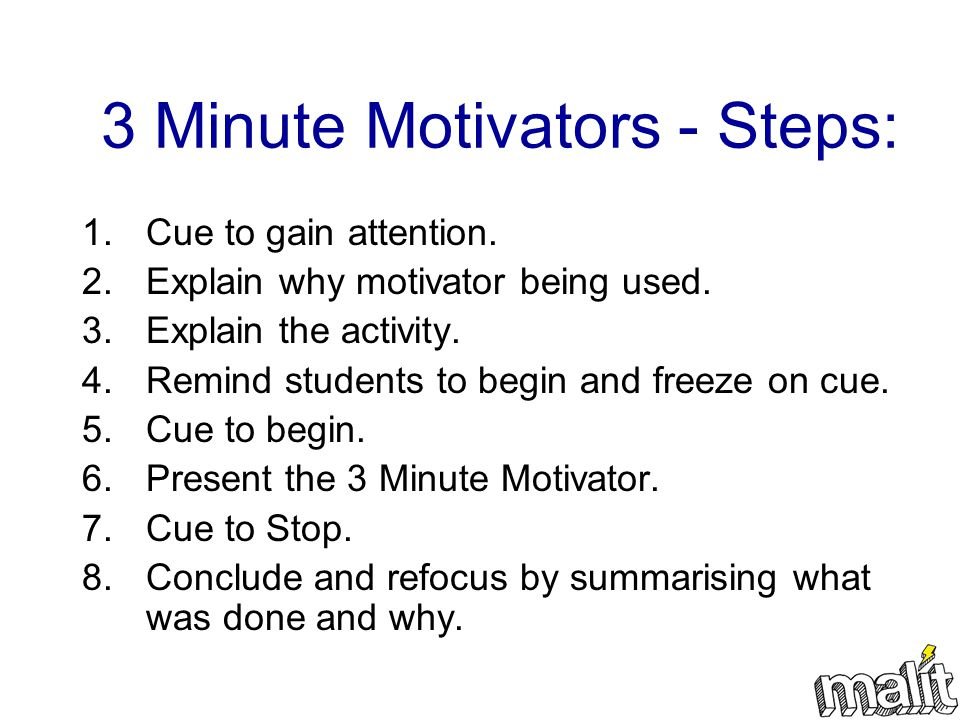 3 Minute Motivators - Steps: