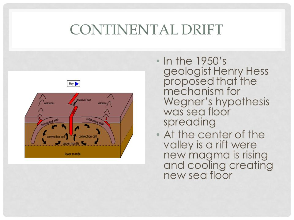 Continental Drift In the 1950's geologist Henry Hess proposed that the mechanism for Wegner's hypothesis was sea floor spreading.