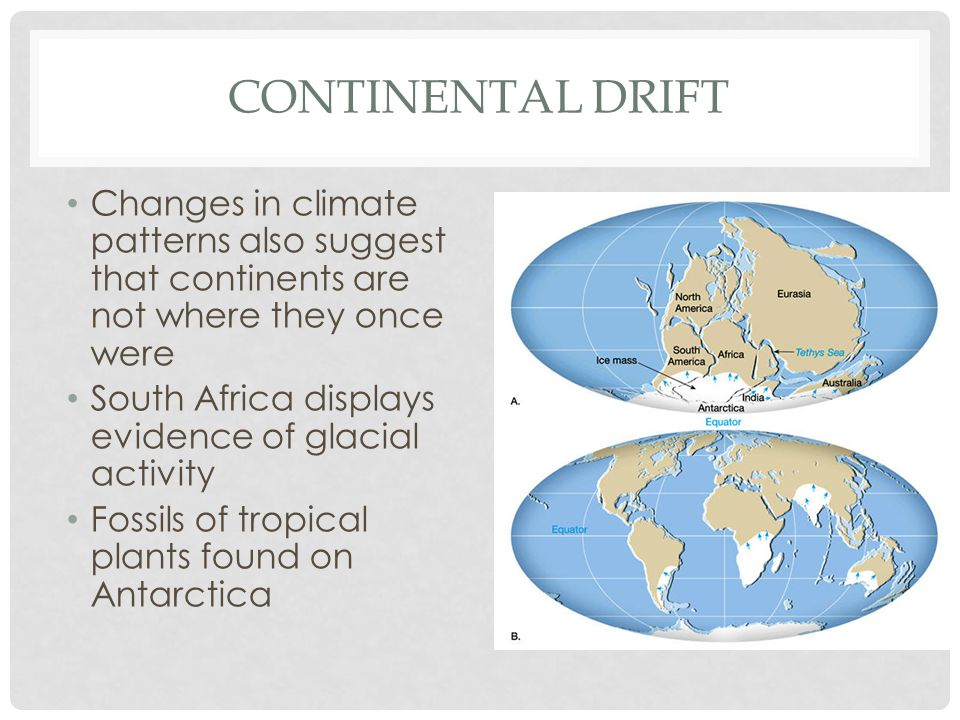 Continental Drift Changes in climate patterns also suggest that continents are not where they once were.