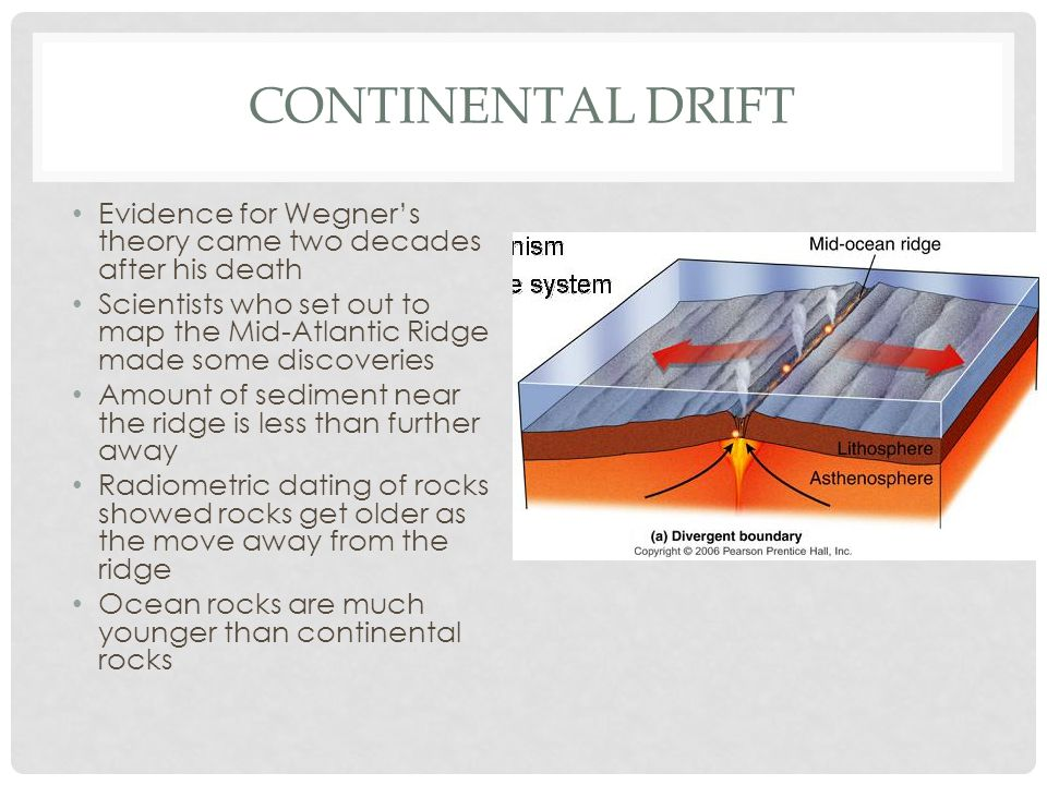 Continental Drift Evidence for Wegner's theory came two decades after his death.