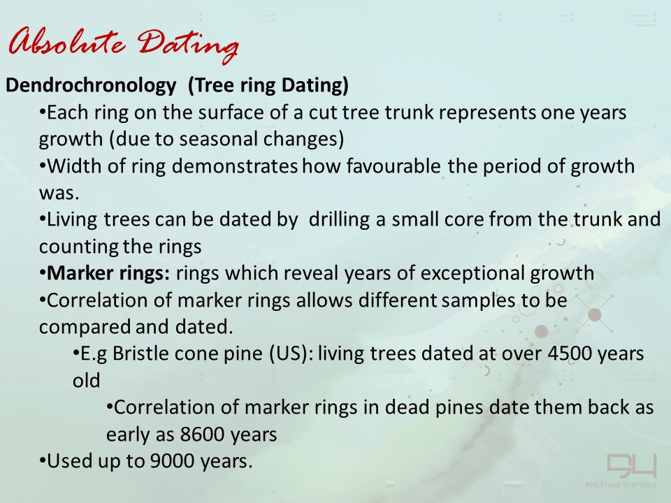 Absolute Dating Dendrochronology (Tree ring Dating)