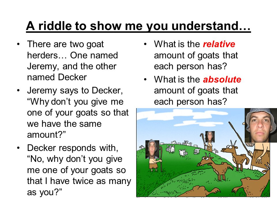A riddle to show me you understand…