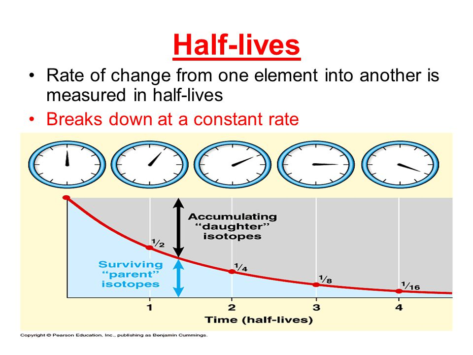 Half-lives Rate of change from one element into another is measured in half-lives.