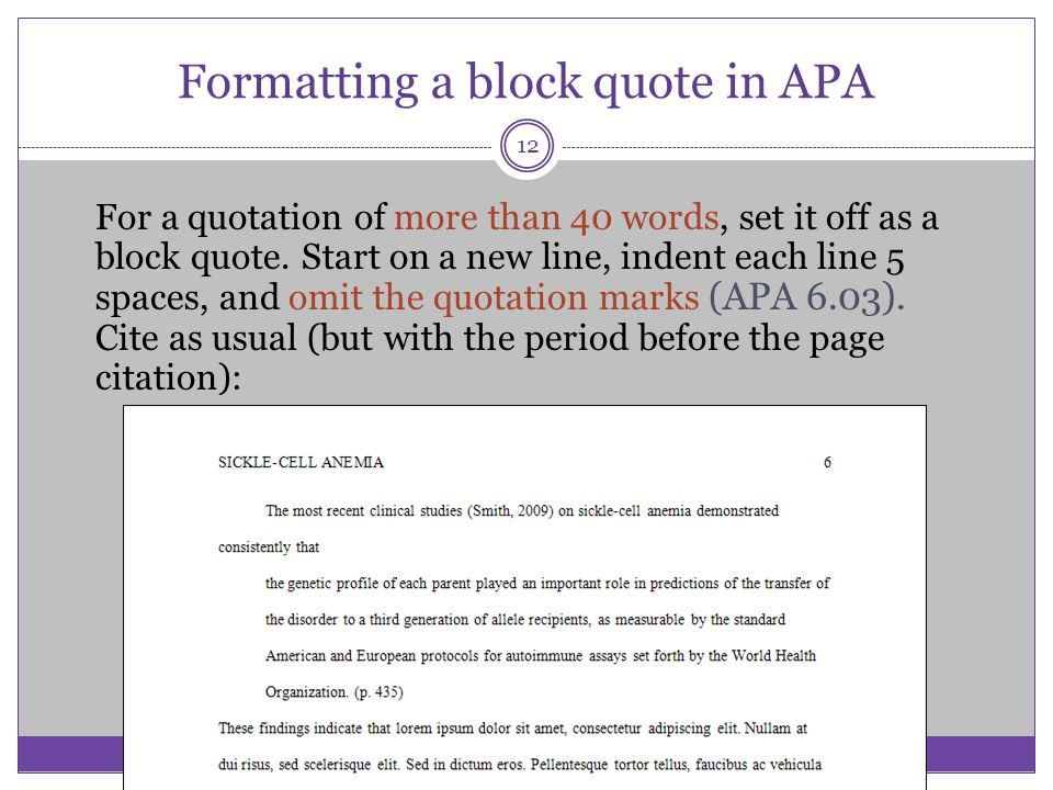 Formatting a block quote in APA