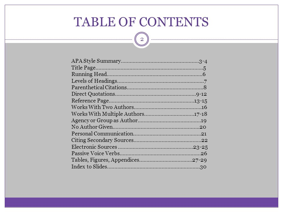 Apa style some basic elements ppt video online download for Table of contents apa style template