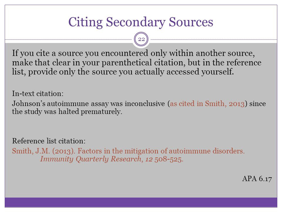 Apa style some basic elements ppt video online download citing secondary sources ccuart Choice Image