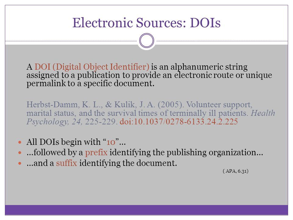 Electronic Sources: DOIs