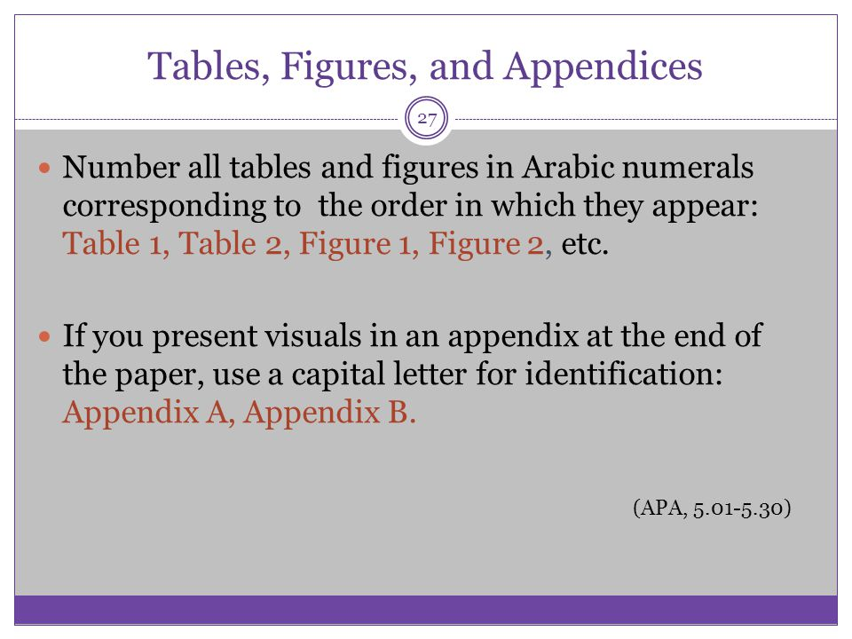 Tables, Figures, and Appendices