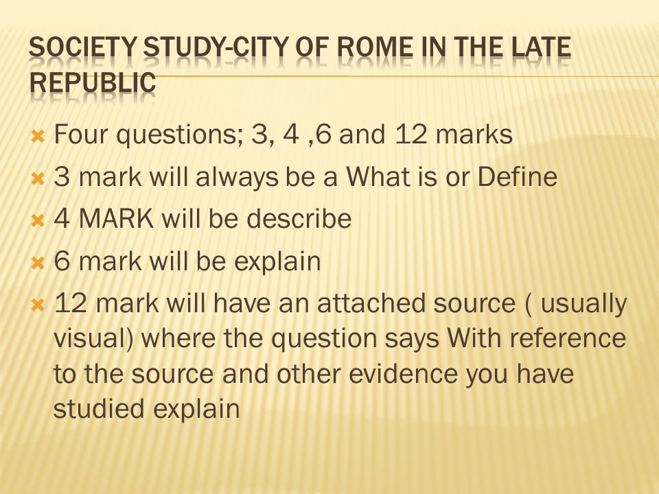 Society Study-City of Rome in the Late Republic
