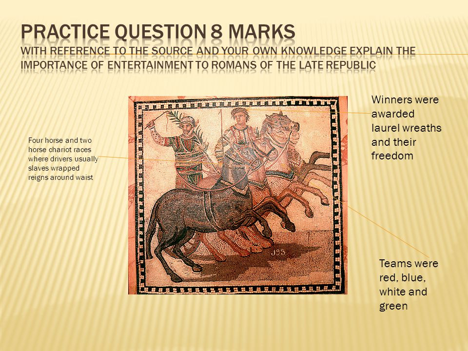 Practice question 8 marks With reference to the source and your own knowledge explain the importance of entertainment to Romans of the Late Republic