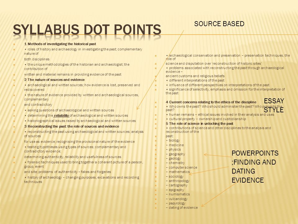 Syllabus dot points SOURCE BASED ESSAY STYLE