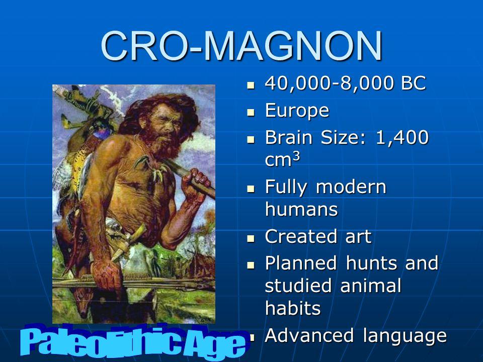 CRO-MAGNON Paleolithic Age 40,000-8,000 BC Europe