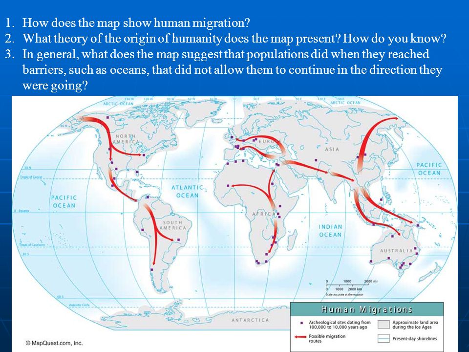 How does the map show human migration