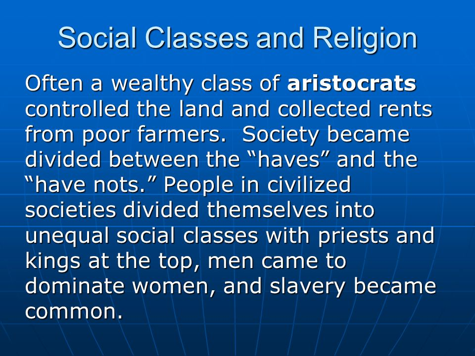 Social Classes and Religion